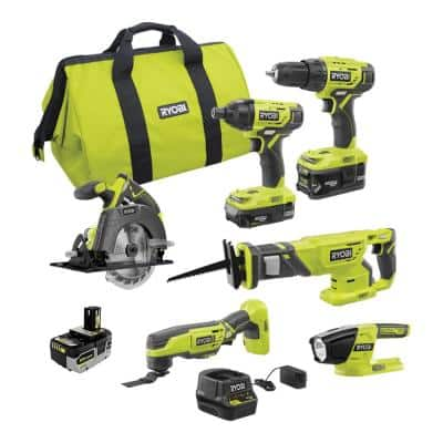 ONE+ 18V Cordless 6-Tool Combo Kit with (2) Batteries, Charger, Bag, with HIGH PERFORMANCE Lithium-Ion 4.0 Ah Battery