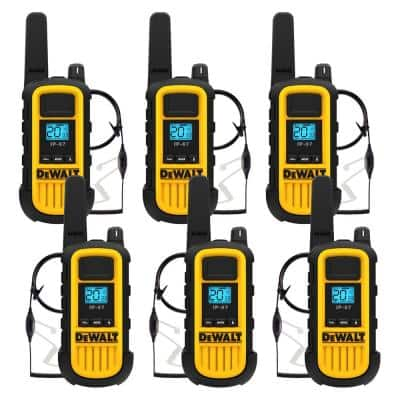 Heavy-Duty 2-Watt Walkie Talkie and Headset Bundle (6-Pack) with 6-Port Gang Charger