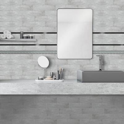 Vali 1 in. x 18 in. Silver Tones Ceramic Decorative Listello Wall Tile (3-Pack)