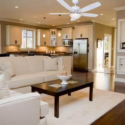 Southwind 52 in. Indoor LED Matte White Dry Rated Ceiling Fan with 5 Reversible Blades, Light Kit and Remote Control