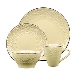 16-Piece Stoneware Scroll Dinnerware Set-Yellow