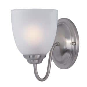 Stefan 1-Light Satin Nickel with Frosted Shade Wall Sconce