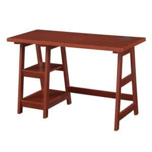 Designs2Go 47 in. Rectangular Cherry MDF Writing Desk with Charging Station