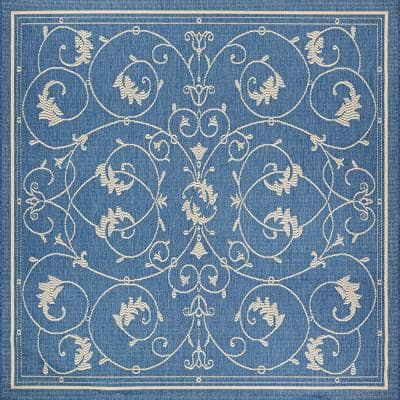Recife Veranda Champagne-Blue 8 ft. 6 in. x 8 ft. 6 in. Square Indoor/Outdoor Area Rug