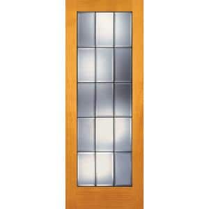 30 in. x 80 in. 15 Lite Unfinished Pine Clear Bevel Patina Woodgrain Interior Door Slab