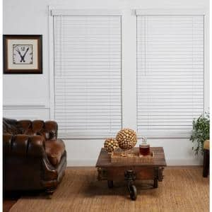 Cut-to-Width White 2in. Cordless Faux Wood Blind - 34in. W x 72in. L (Actual size: 34in. W x 72in. L)