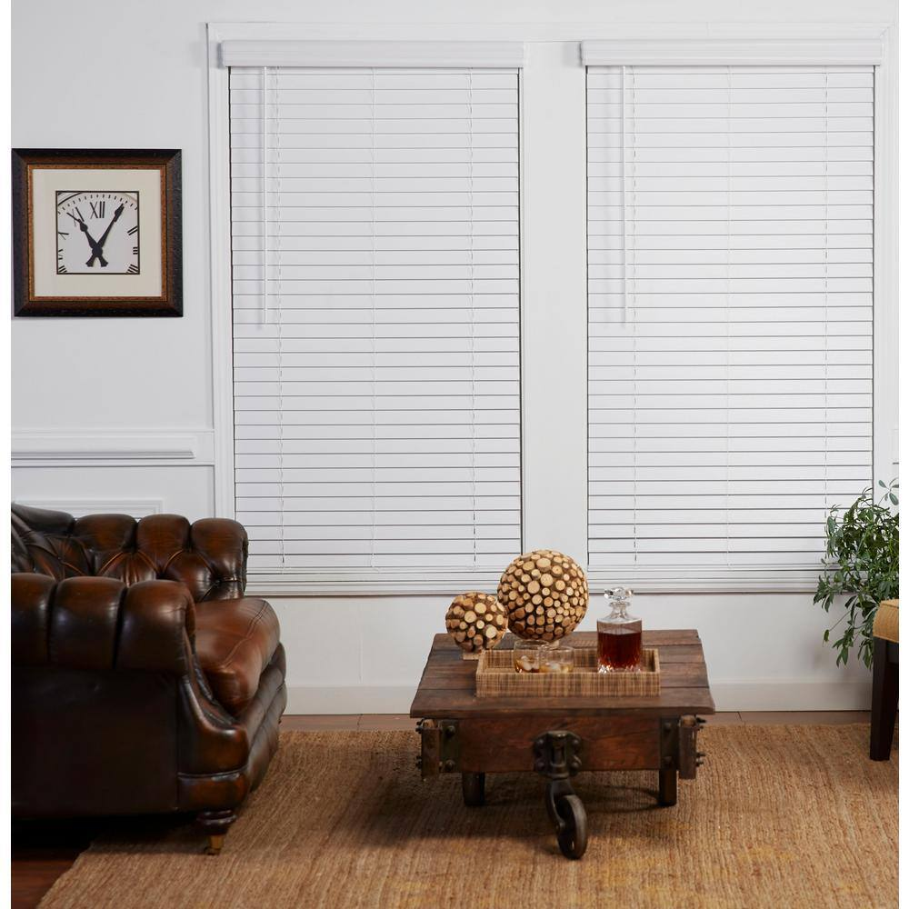 Perfect Lift Window Treatment Cut To Width White 2in Cordless Faux Wood Blind 72in W X 72in L Actual Size 72in W X 72in L Qjwt720720 The Home Depot