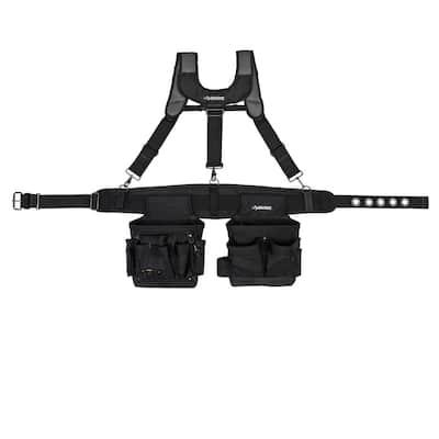 2-Bag 14-Pocket Black Electricians Suspension Rig Work Belt with Suspenders