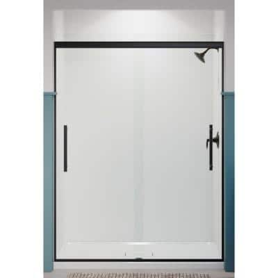 Pleat 59.625 in. x 79.0625 in. Frameless Sliding Shower Door in Matte Black with Crystal Clear Glass