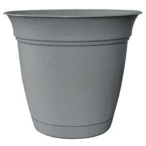 Belle 8 in. Dia. Stormy Gray Plastic Planter with Attached Saucer