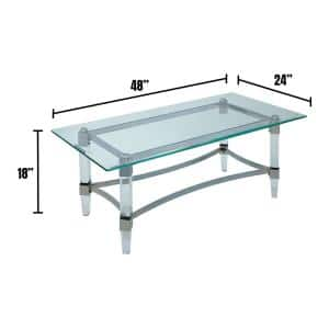 Beaumaris 48 in. Chrome/Clear Large Rectangle Glass Coffee Table