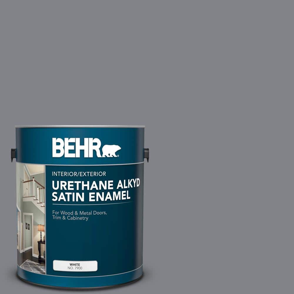 Behr 1 Gal Ae 52 Rising Smoke Urethane Alkyd Satin Enamel Interior Exterior Paint 793001 The Home Depot