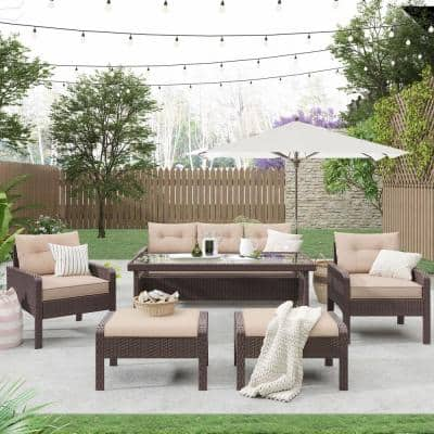 Brown 6-Pieces Wicker Outdoor Sectional with Light Coffee Cushions