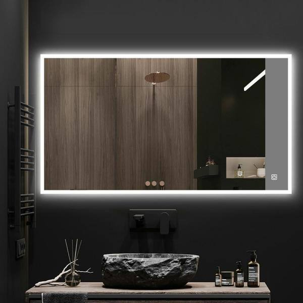Kinwell 48 In W X 28 H Framed, Home Depot Bathroom Mirror Led
