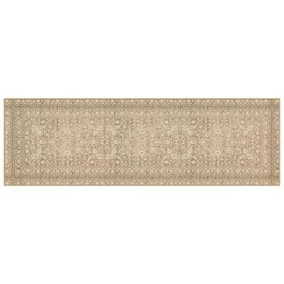 Nevermove Bella Khaki 2 ft. x 6.3 ft. Machine-Washable Polyester Designer Accent Area Rug with GellyGrippers