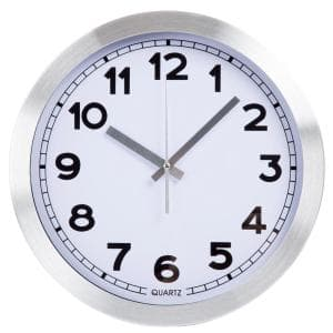 Silver Brushed Aluminum 12 Inch Wall Clock