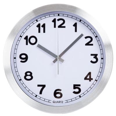 12 in. Silver Brushed Aluminum Wall Clock