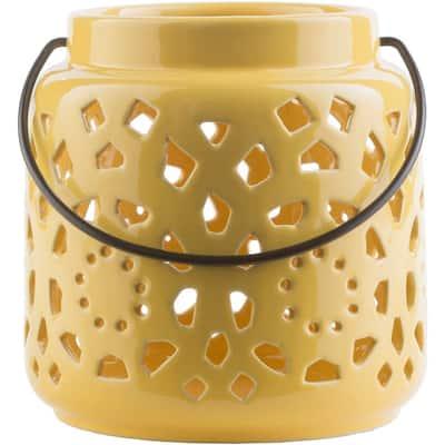 Kimba 6.5 in. Mustard Ceramic Lantern