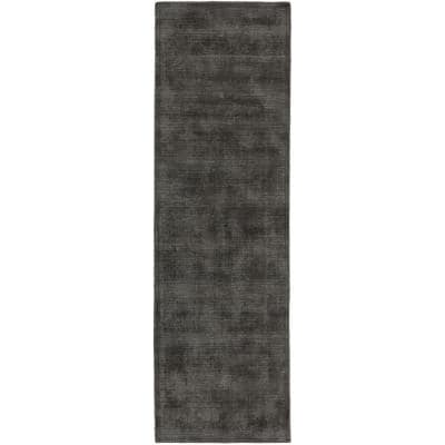 Audrey 1 Charcoal 2 ft. 3 in. x 7 ft. 6 in. Solid Hand Loomed Wool and Viscose Indoor Runner