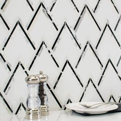 Ogee Black and White 16.92 in. x 13.20 in. Polished Marble Mosaic Wall Tile (1.55 sq. ft./Each)