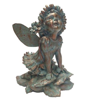 14 in. Fairy Penelope Bronze Patina Collectible Garden Statue