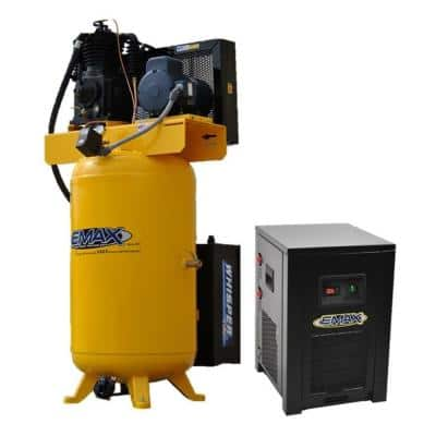 Industrial Plus 80 Gal. 5 HP 1-Phase 2-Stage Silent Air Electric Pressure Lube Air Compressor with 30 CFM Dryer Bundle