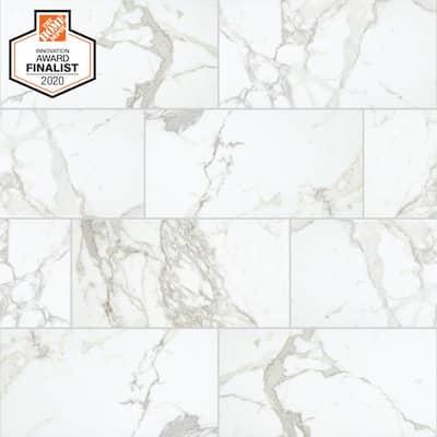 QuicTile 12 in. x 24 in. Calacatta Marvel Matte Porcelain Locking Floor Tile (9.6 sq. ft. / case)