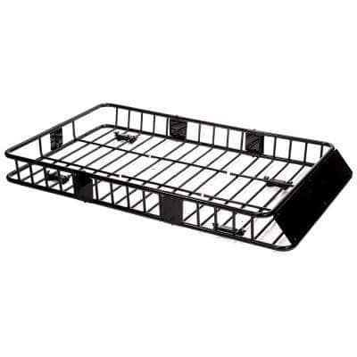 150 lbs. Black Universal Roof Basket Cargo Carrier with Rack Extensions