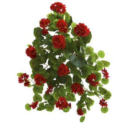 Indoor 26 in. Geranium Artificial Plant (2-Set)
