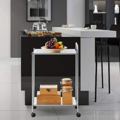 Wayar 2- Shelf Chrome 4-Wheeled Kitchen Cart