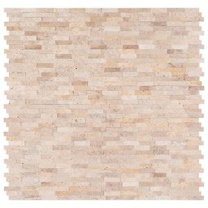 Roman Beige Split Face Peel and Stick 12 in. x 12 in. x 6 mm Travertine Mosaic Tile (15 sq. ft. / case)