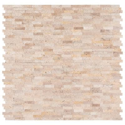Roman Beige Split Face Peel and Stick 12 in. x 12 in. x 6mm Travertine Mesh-Mounted Mosaic Tile (15 sq. ft. / case)