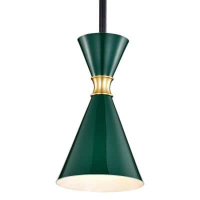 5.5 in. 1-Light Green Hanging Pendant Light with Brass Accents