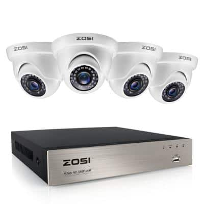 8-Channel 1080p DVR Security Camera System with 4-Wired Dome Cameras(No Hard Drive)