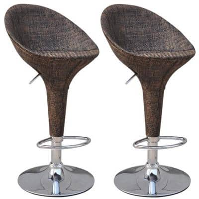 Swivel Metal Outdoor Bar Stool 2-Pack with Mesh Fabric and Adjustable Height