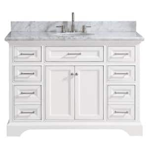 Vanity Art Savona 48 In W X 22 In D X 36 In H Vanity In White With Single Basin Vanity Top In White And Grey Marble And Mirror Va2048w The Home Depot