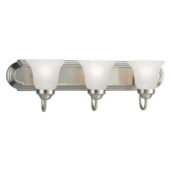 Progress Lighting 24 In 3 Light Brushed Nickel Bathroom Vanity Light With Glass Shades P300074 009 The Home Depot