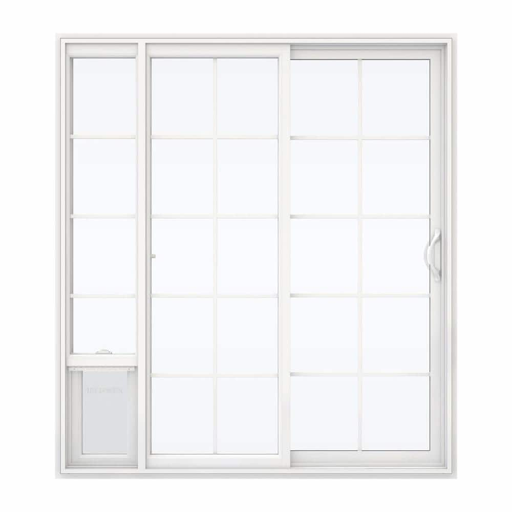 Jeld Wen 72 In X 80 In White Right Hand Vinyl Patio Door With Low E Argon Glass Grids And Large Pet Door Sierra Le Grd 6068 Lpdp Rh The Home Depot