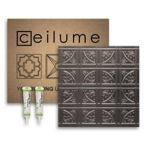 Lafayette 2 ft. x 2 ft. Glue Up Vinyl Ceiling Tile and Backsplash Kit in Faux Tin (21 sq. ft./case)