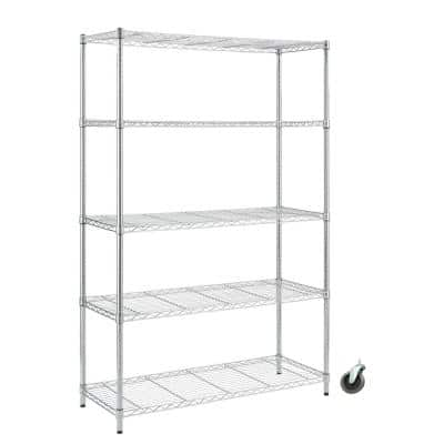 Chrome Rolling 5-Tier Metal Wire Shelving Unit (48 in. W x 72 in. H x 18 in. D)