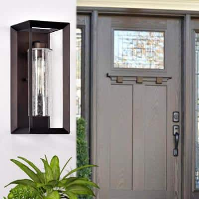 1-Light Dark Bronze Outdoor Wall Lantern Sconce with Clear Seeded Glass
