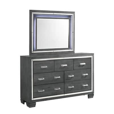 Kenzie 7-Drawer Gray Dresser with Mirror