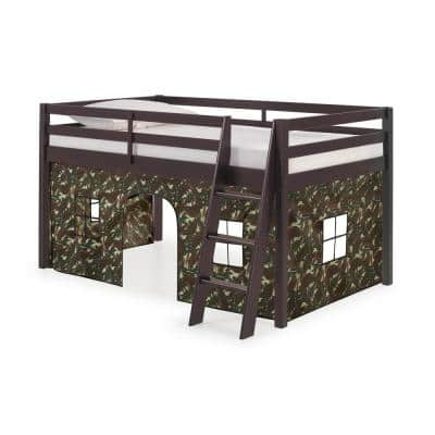 Roxy Espresso with Green Camo Bottom Tent Twin Junior Loft