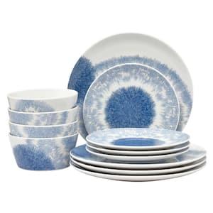 Aozora Blue/White Porcelain 12-Piece Dinnerware Set (Service for 4)