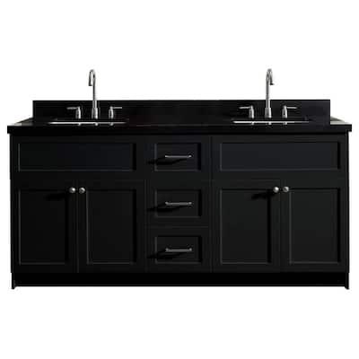 Hamlet 73 in. Bath Vanity in Black with Granite Vanity Top in Absolute Black with White Basins