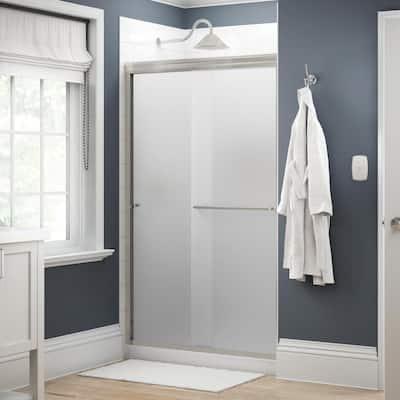 Simplicity 48 in. x 70 in. Semi-Frameless Traditional Sliding Shower Door in Nickel with Niebla Glass