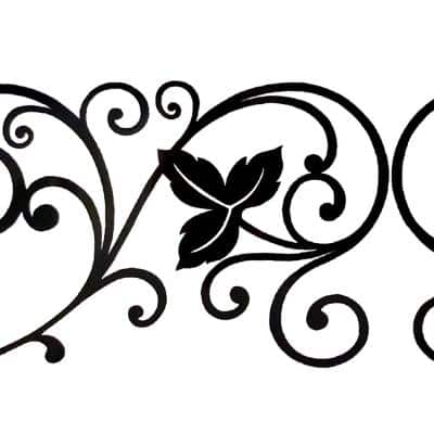 Falkirk McGhee Peel and Stick Damask Black Vines, Scrolls Self Adhesive Window Sticker Wallpaper Border