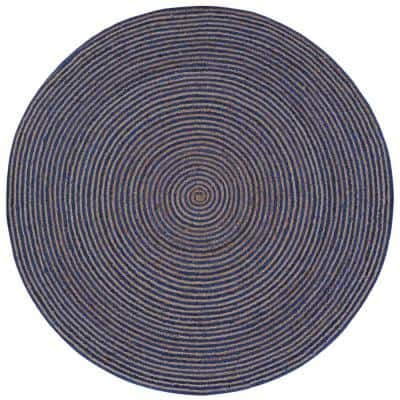 Jute and Blue Cotton Racetrack 6 ft. x 6 ft. Round Area Rug