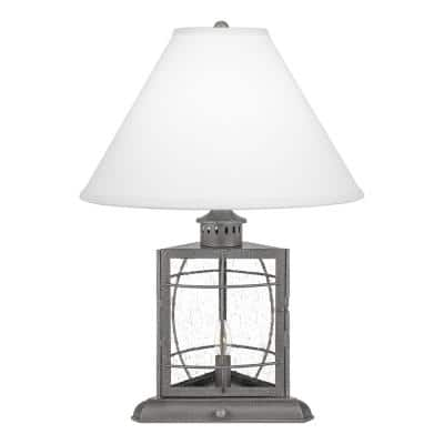 McKenna 22 in. Galvanized Table Lamp with Cream Fabric Shade