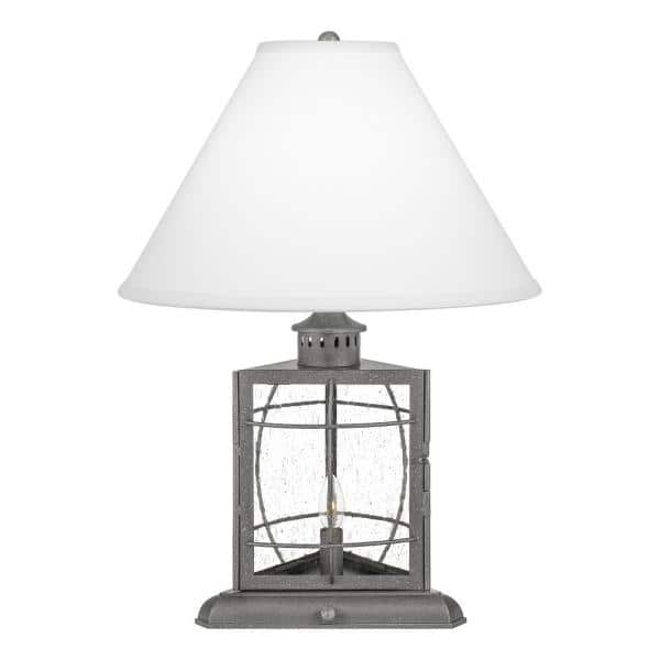 Quoizel Mckenna 22 In Galvanized Table Lamp With Cream Fabric Shade Q27146a1 The Home Depot
